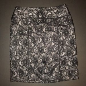 Relativity Skirts - Relativity pencil skirt black lace over gray satin